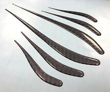 CARBON FIBRE EFFECT WINGLET FULL SET OF 6 Stickers/Decals - HIGH GLOSS DOMED GEL