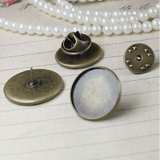 20PCS Antiqued Bronze 12mm Round Blank Settings Brooch #22723