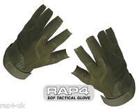 SOF Tactical Assault Gloves (Open Finger - Olive) Ideal for Paintball Airsoft