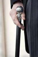 Silver Top Walking Cane by Tails and the Unexpected. Tapered cane with ball top