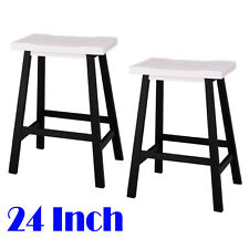 New listing Set of 2 Bar Stools Kitchen Counter Dining Saddle Seat Wood Pub Chair 24 Inch