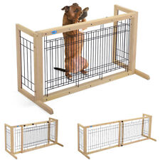 Free Standing Dog Gate Adjustable Indoor Solid Wood Construction Pet Fence Gate