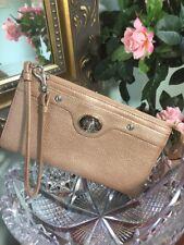 Coach Penelope Zippy Wallet F45647 Turn-lock Tan  Bronze Leather Wristlet  W18