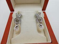 Long & Gorgeous 14k White Gold Channel Set Diamond Pearl Earrings Omega Backs
