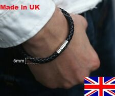 Braided  Genuine Leather Bracelet with Stainless Steel Clasp 6mm Made in the UK