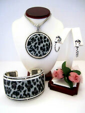 "Brighton ""CRYSTAL ROCKS LEOPARD"" Necklace-Earring-Bracelet Set (R$210) NWT/Pouch"