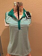 Nwt Nike Dri Fit Blouse Golf Shirt 725600 Small Green Striped Top
