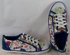 COACH Leatherworks Barrett Poppy Scribble Low Rise Sneakers Size 7.5
