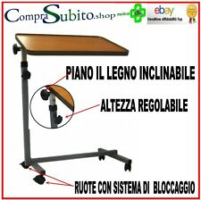 TAVOLINO CARRELLO CON PIANO IN LEGNO INCLINABILE  REGOLABILE IN ALTEZZA INTERMED