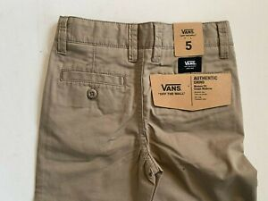 Vans New Authentic Chino Modern Fit Military Khaki Youth Boys Size 5/M