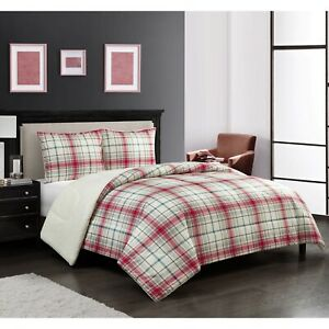 Mainstays Flannel Sherpa 3 Piece Comforter Set Full/Queen, Red and Green Plaid