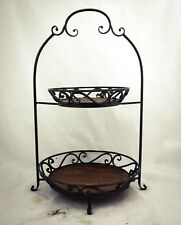 Large etagere fruit stand cake holder metal wooden plate