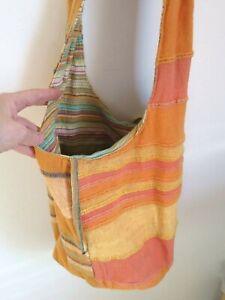 HANDMADE Orange BrownYellow Woven 100% Cotton Slouch Shoulder Bag BEACH SHOPPING