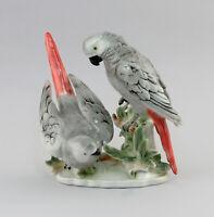 9942877 Porzellan Figur Vogel Grau-Papagei-Gruppe Wagner&Apel 21x16x21cm