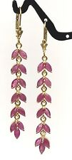 14k Solid Yellow Gold Leverback Cluster Leave Dangle Earrings, Natural Ruby 3TCW