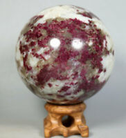 Natural Red tourmaline Quartz Crystal stone Sphere healing Ball/ Stand 67mm