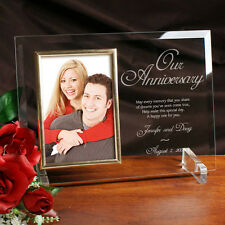 Personalized Glass Anniversary Picture Frame Engraved Anniversary Photo Frame