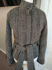 Gorgeous Ted Baker Wool Herringbone Jacket Coat Tie Belt Size 3 UK 12