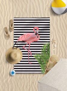 "58""x39"" Flamingo B&W Stripes Microfibre Beach Towel Pool Sun Bathing towel"