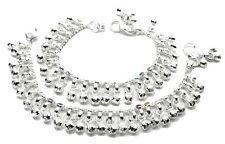 "Jingle Bells Solid Silver toddler baby Anklets Ankle chain Bracelet Kids 6.5"""