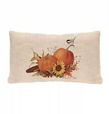 """New Heritage Lace  Harvest Pumpkin Pillow Cover 12""""x 20"""" Natural Thanksgiving"""