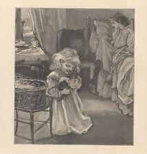 VICTORIAN GIRL HUGGING KITTEN ANTIQUE CAT ART PRINT 1887