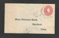 1907 AETNA NATIONAL BANK HARTFORD CONN ADVERTISING COVER US STAMPED ENVELOPE