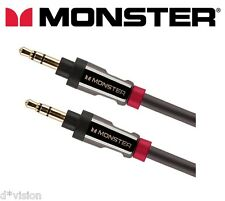 MONSTER ® Ausiliario Cavo 3,5 mm Stereo Mini Jack Maschio Audio AUX PIOMBO 24K Gold 3 piedi