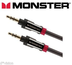 Monster® Auxiliary Cable 3.5mm Stereo Jack Male Audio Aux Lead 24K Gold 4ft 1.2m