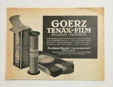 Pubblicità epoca 1922 GOERZ TENAX FILM FOTO PHOTO advertising publicitè werbung