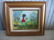 Original Framed Painting Enamel on Copper Young girl picking flowers 14 x 16