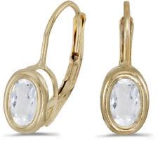 14k Yellow Gold Oval White Topaz Bezel Lever-back Earrings
