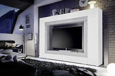 Milano White Gloss and Concrete Grey Large TV Entertainment Wall Unit 2938