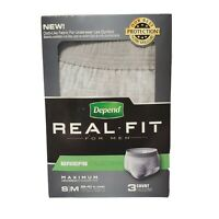 3 ct Mens Depend Real Fit Incontinence Maximum Absorbency Briefs S/M Underwear