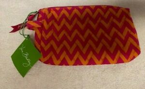 NWT Vera Bradley Small Cosmetic Bag Ziggy Zag Chevron Orange Pink Quilted Cute!