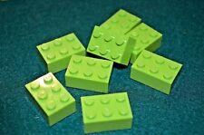 (8) Lime Green 2x3 Standard Bricks  ~ Lego  ~ NEW