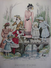 """35/ GRAVURE DE MODE """" Moniteur de la Mode Paris 1891 """".   Grand format 36x26"""