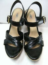 UGG Womens Sandals Size 8 Black Patent Sling Back Strappy  #B