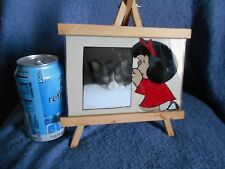 Mafalda Praying. Easel picture frame Glass photo holder.  Add you own Picture..