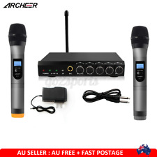 ARCHEER VHF Wireless bluetooth Microphone Receiver System 2 Karaoke MIC Handheld