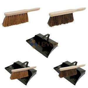 Dustpan and Brush Set Black Hooded Metal Ash Dust Pan Soft or Stiff Hand Brush