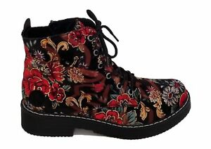 Womens Ladies Rieker Velvet Floral Print Warm Winter Lace Ankle Boot Size UK 3-8