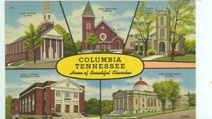 TENNESSEE-GREETINGS-COLUMBIA,TN-MULTIVIEW-LINEN-CHURCHES-(RIBBON-TN)