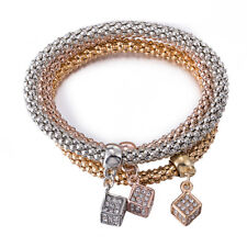 18K Yellow/Rose/White Gold Plated 3 Tone Cube Crystals Charm Bracelet BL376