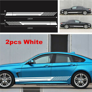 2x Sports Racing Vinyl Stripe Decal Car Graphics Side Skirt Sticker for All Cars