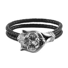 """Fathers Day Gift Leather Braided Strand Tiger Mens Bracelet Size 8"""""""