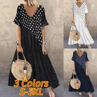 Plus Size Women Summer V-neck Polka Dot Maxi Dress Ladies Beach Holiday Sundress