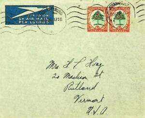 SOUTH AFRICA 1939 WWII CHRISTMAS TREE 6d PAIR ON A/M COVER TO USA