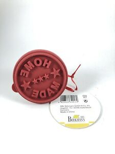 """Birkmann """"Home Made"""" Wood & Silicone Rnd Cookie Baking Press Stamp NEW w/Tag"""