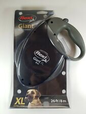 Flexi Giant XL Retractable Dog Leash (Tape), Extra-Large, 26 ft, Black and Gray